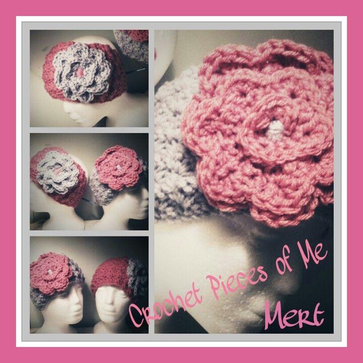 Gray and pink crochet ear warmer!