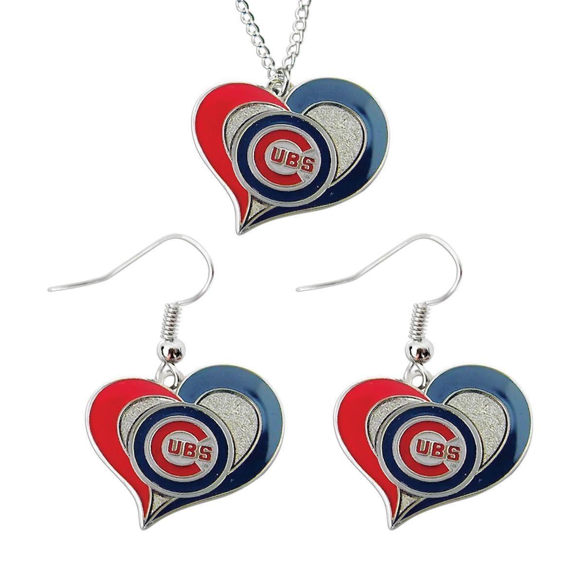 Chicago cubs swirl heart necklace and dangle earring set mlb charm