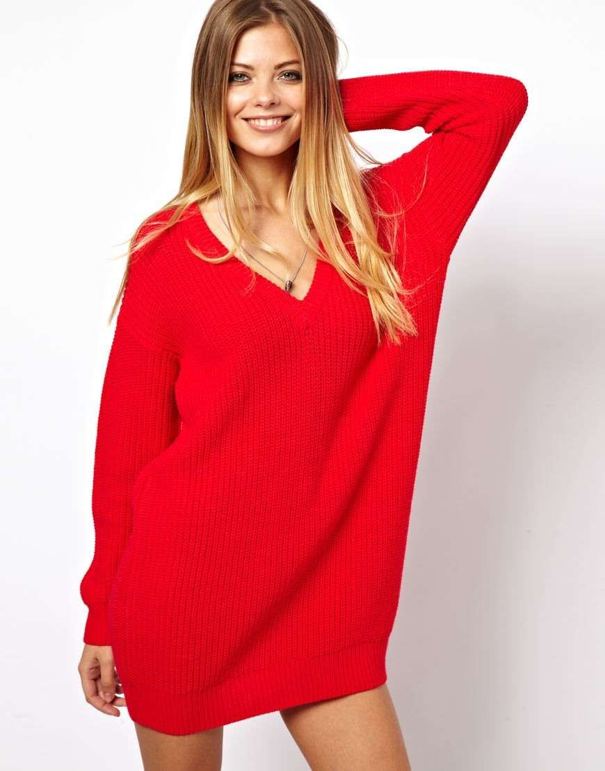 Love the asos deep v sweater dress on wantering be mine valentine