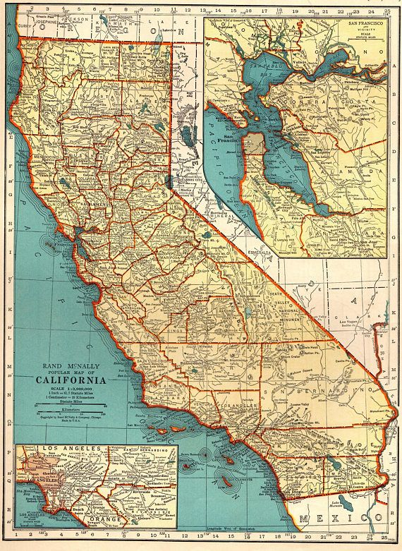 1939 Antique CALIFORNIA Map of California State Map Gallery United
