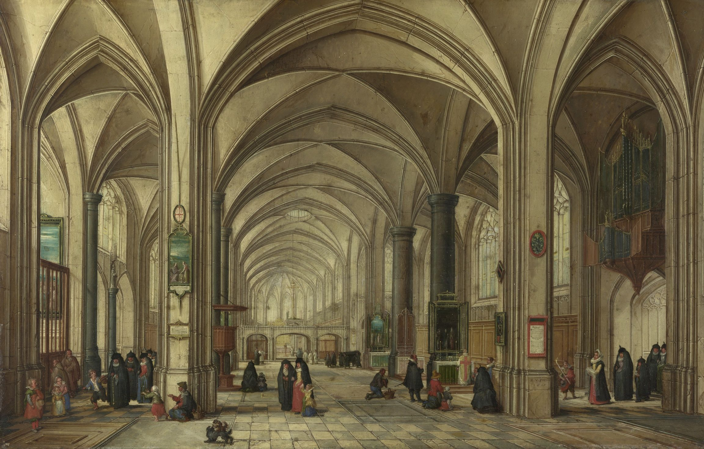 The Interior of a Gothic Church looking East Mural Wall Coverings