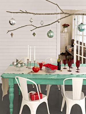 """Festive Centerpiece"" the table and some ornaments are that color.   p/i"
