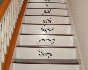 Every Journey Begins With STAIRS Stairway Vinyl Decal Vinyl Decal Home  Decor Door Wall Lettering Words
