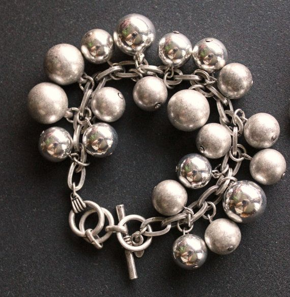Vintage Avon Jewelry By Mark Shiny Silver And Matte Silver Orbs Matte Silver Large Link Bracelet With Toggle Clasp With Mark Avon Jewelry Jewelry Shiny Silver