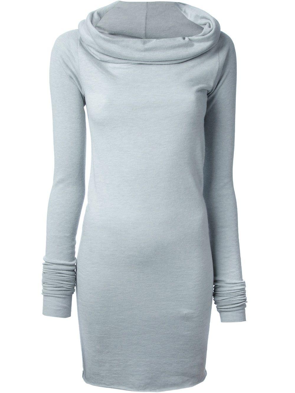 RICK OWENS -  Gray Draped Neck Sweater