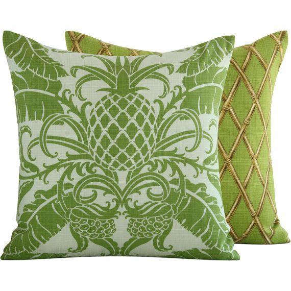 Green Pineapple Outdoor Throw Pillow Cover 20x20 Tropical Decor