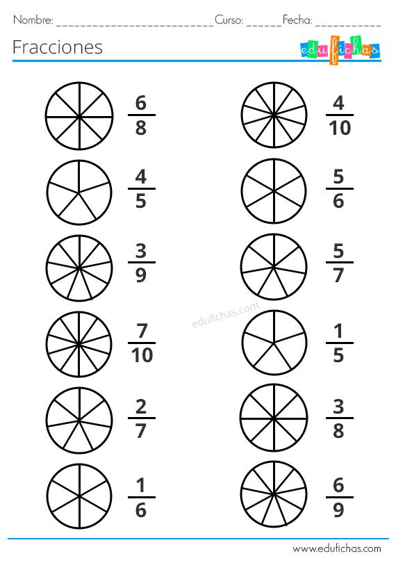 Fracciones Para Ninos Ejercicios Con Equivalentes Operaciones Y Mas Fracciones Para Primaria Fracciones Ejercicios De Fracciones