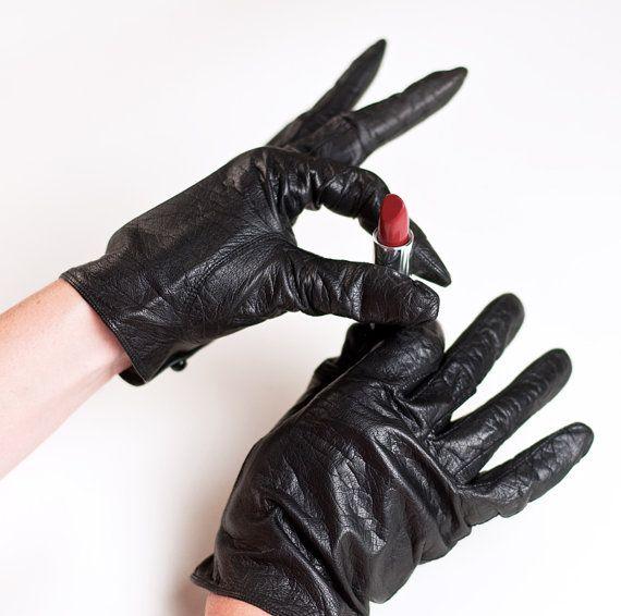 Women/'s Gloves Size Black Warm Winter Gloves #2 M Fur Trimmed leather gloves