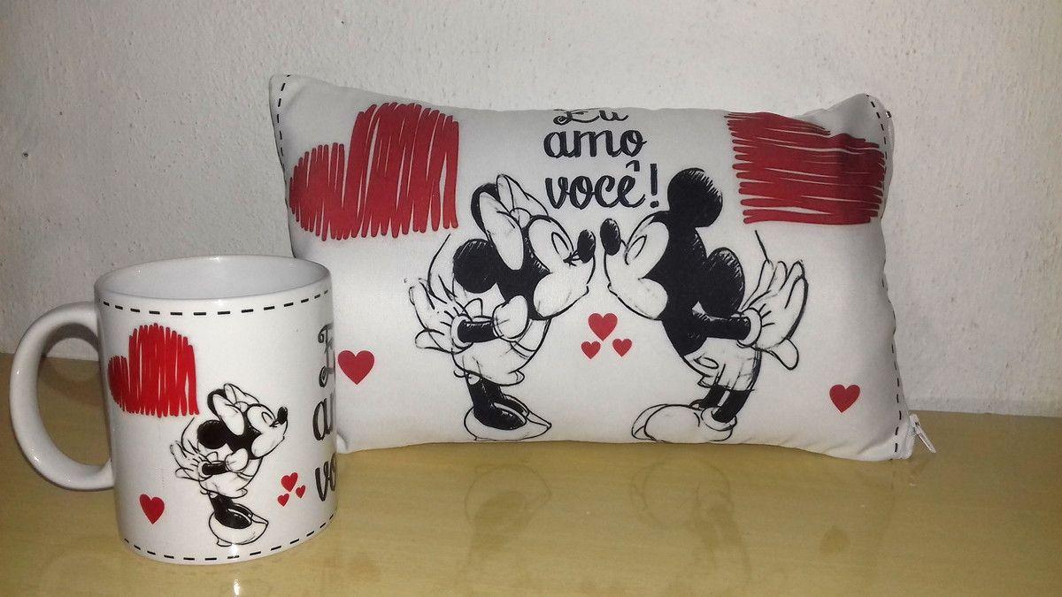 15707d0c04 Kit dia Dos Namorados Mickey E Minnie Lindo Kit Personalizado Caneca+Almofada  Personalizada Para Você Presentear e Surpreender o Amor Da Sua Vida.