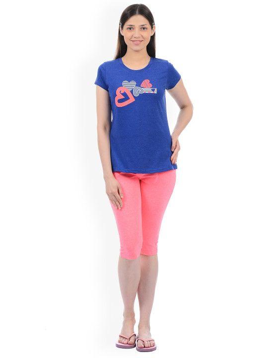 e5611981f Sweet Dreams Women Blue   Pink Printed Night Suit 217318 -
