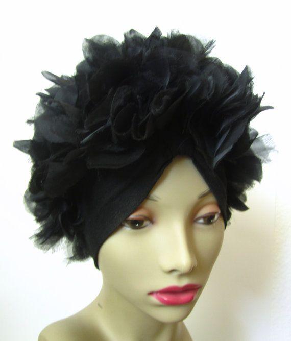 Vintage 1950s Petal Hat // Black // Curler Cover // by MKRetro, $28.00