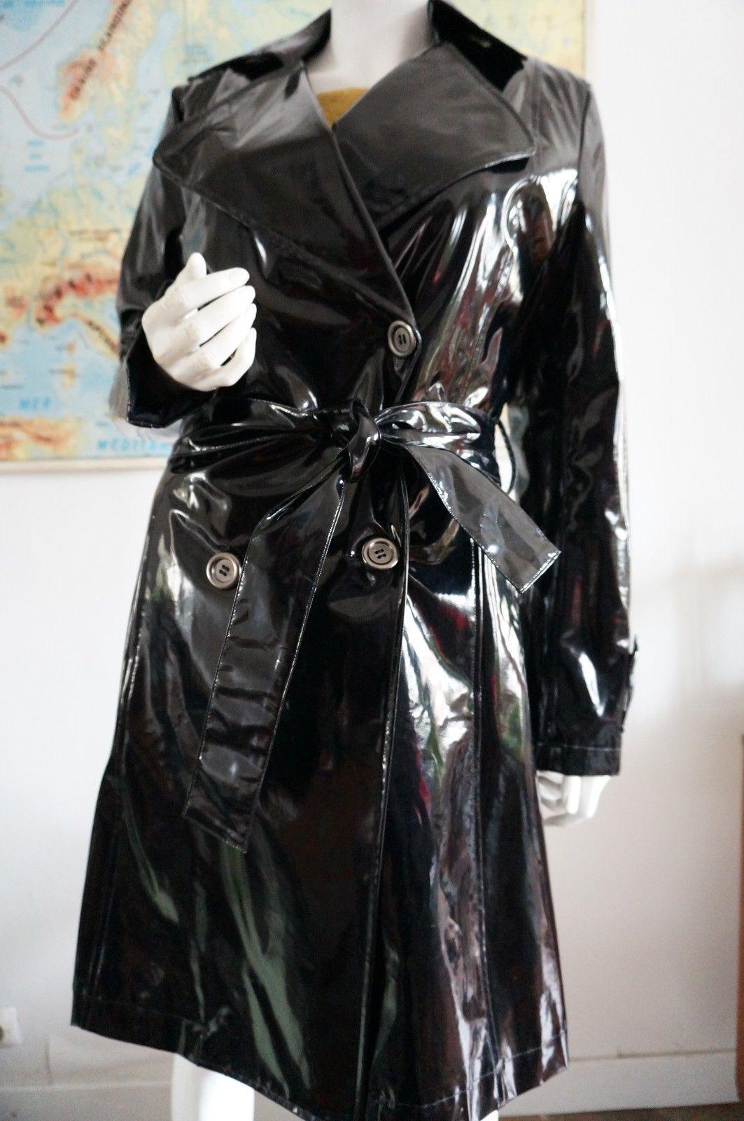 Cir 233 Taille 38 Trench Coat Vnyl Pvc Noir Brillant