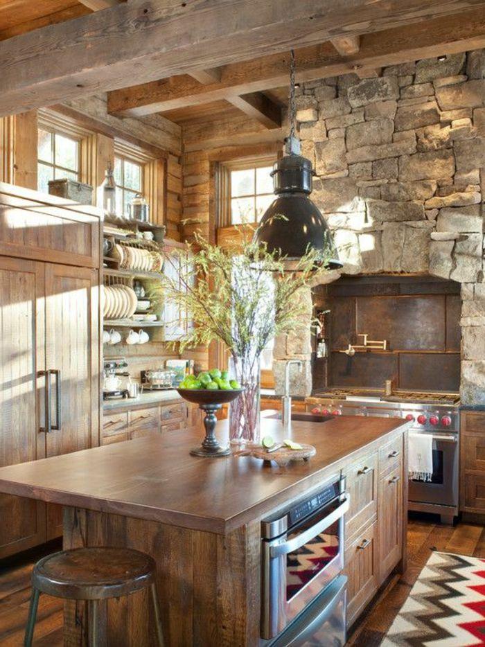 La Cuisine En Bois Massif En Beaucoup De Photos! Rustic Kitchen  CabinetsKitchen ...