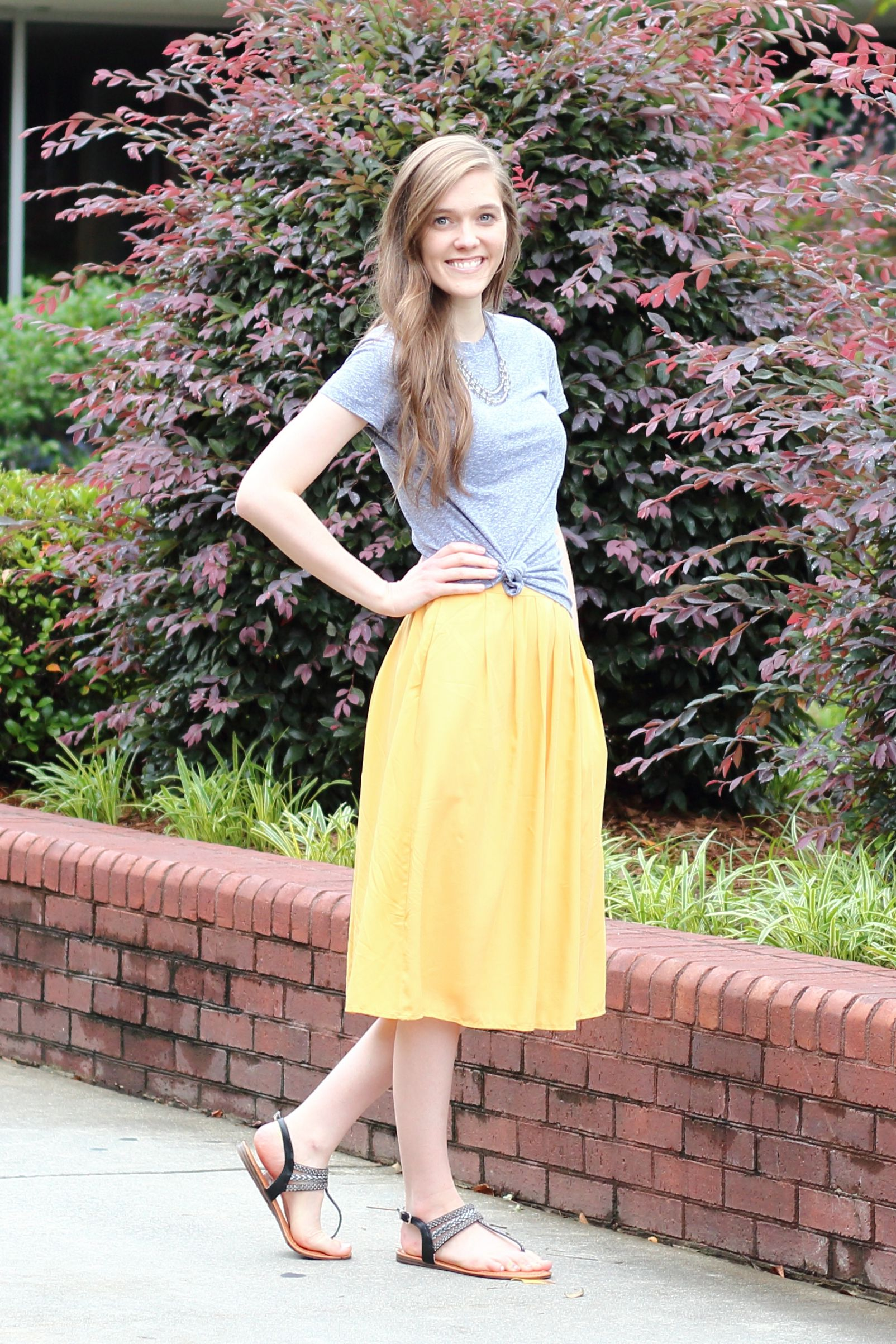 Modest casual outfit idea for churchyellow midi skirt