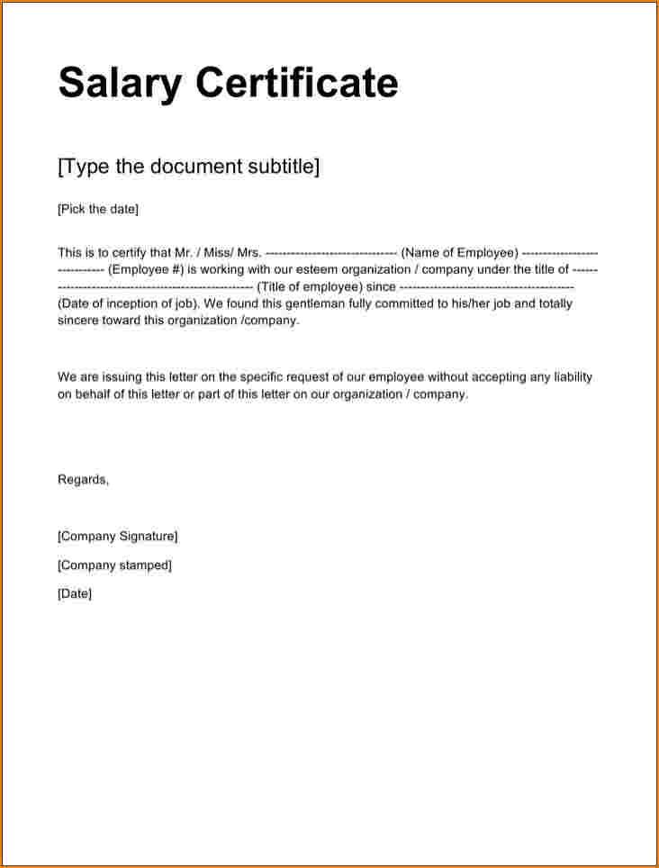 Annual Salary Certificate Format In Word Certificate Format Certificate Templates Doctors Note Template