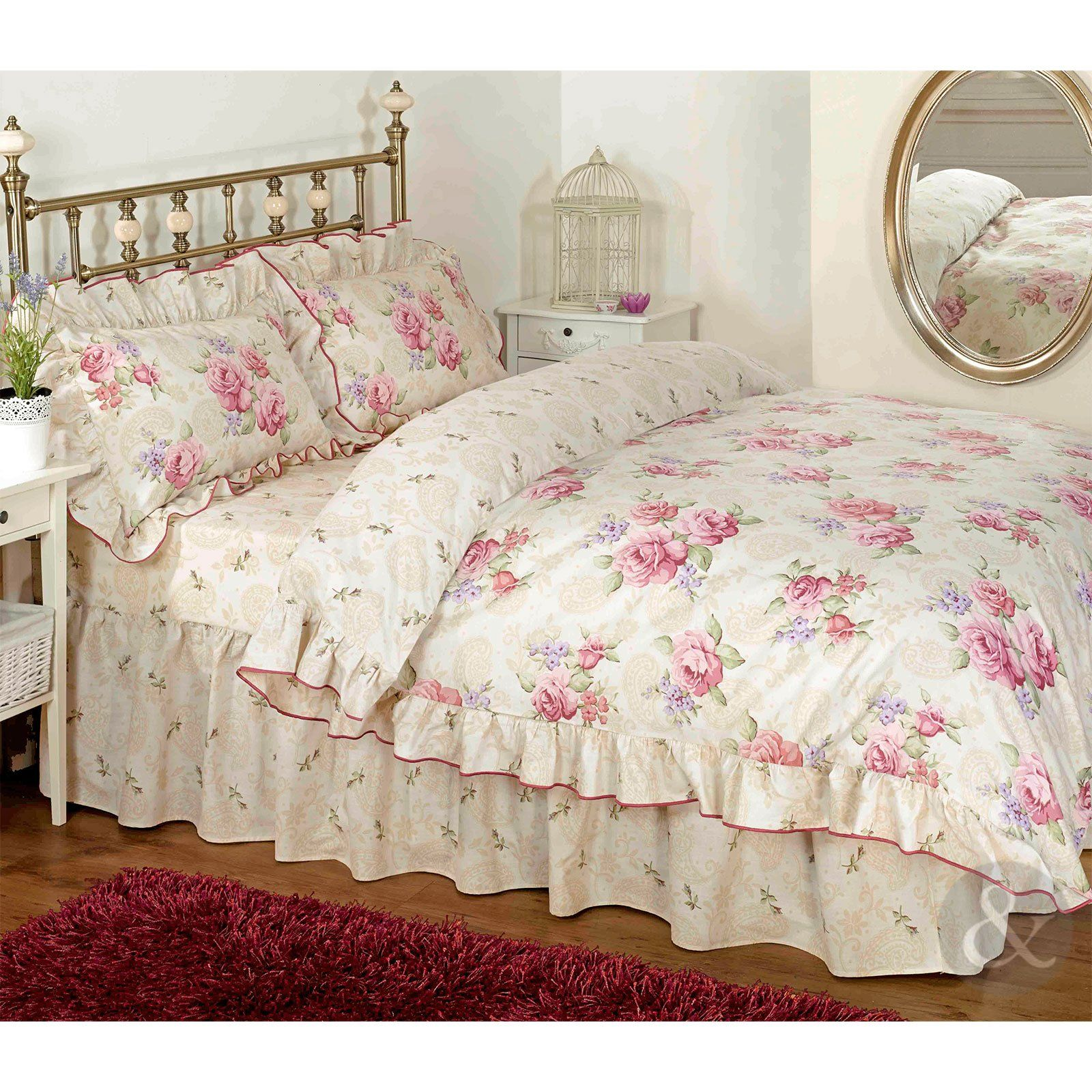 vintage floral r schen bettw sche creme beige rosa bettw sche set kissenbezug parent pink. Black Bedroom Furniture Sets. Home Design Ideas