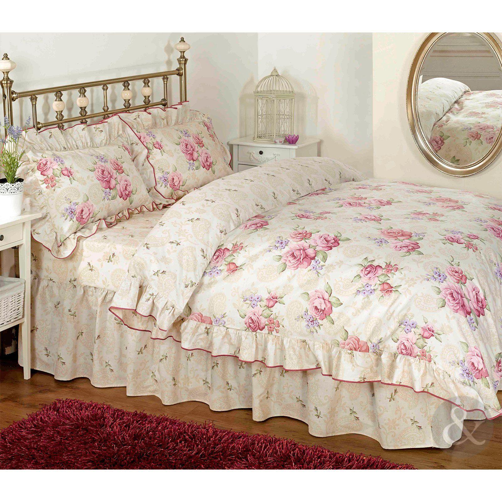 vintage floral rüschen bettwäsche creme beige rosa bettwäsche set ... - Schlafzimmer Creme Beige
