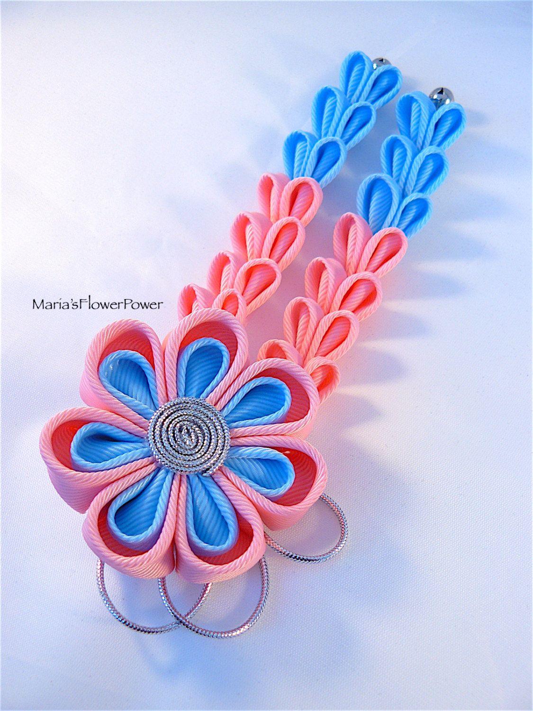 Blue Flower Power Hair Bow