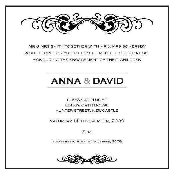 Wording engagement planning Engagement invitation wording