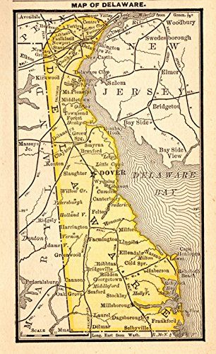 1888 Antique Delaware Map Original Vintage Miniature Map ... https ...