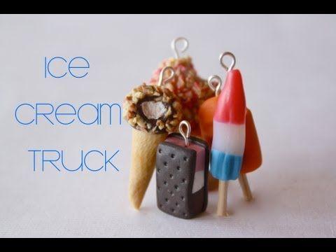 Ice Cream Truck Polymer Clay Charms: Strawberry Shortcake, Neapolitan Ice Cream Sandwiches, Bomb Pop Orangsicle,  Vanilla Sundae Cone