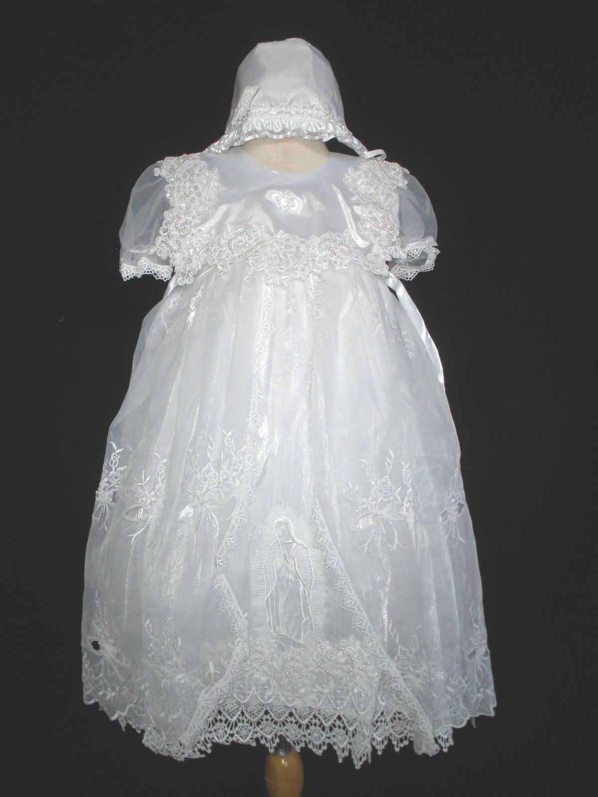 Baby Girls Ivory Embroidered Lace Satin Christening Baptism Bonnet Size  0-24 M