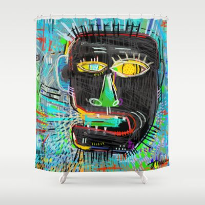Basquiats Head Shower Curtain By Rookery Design 6800