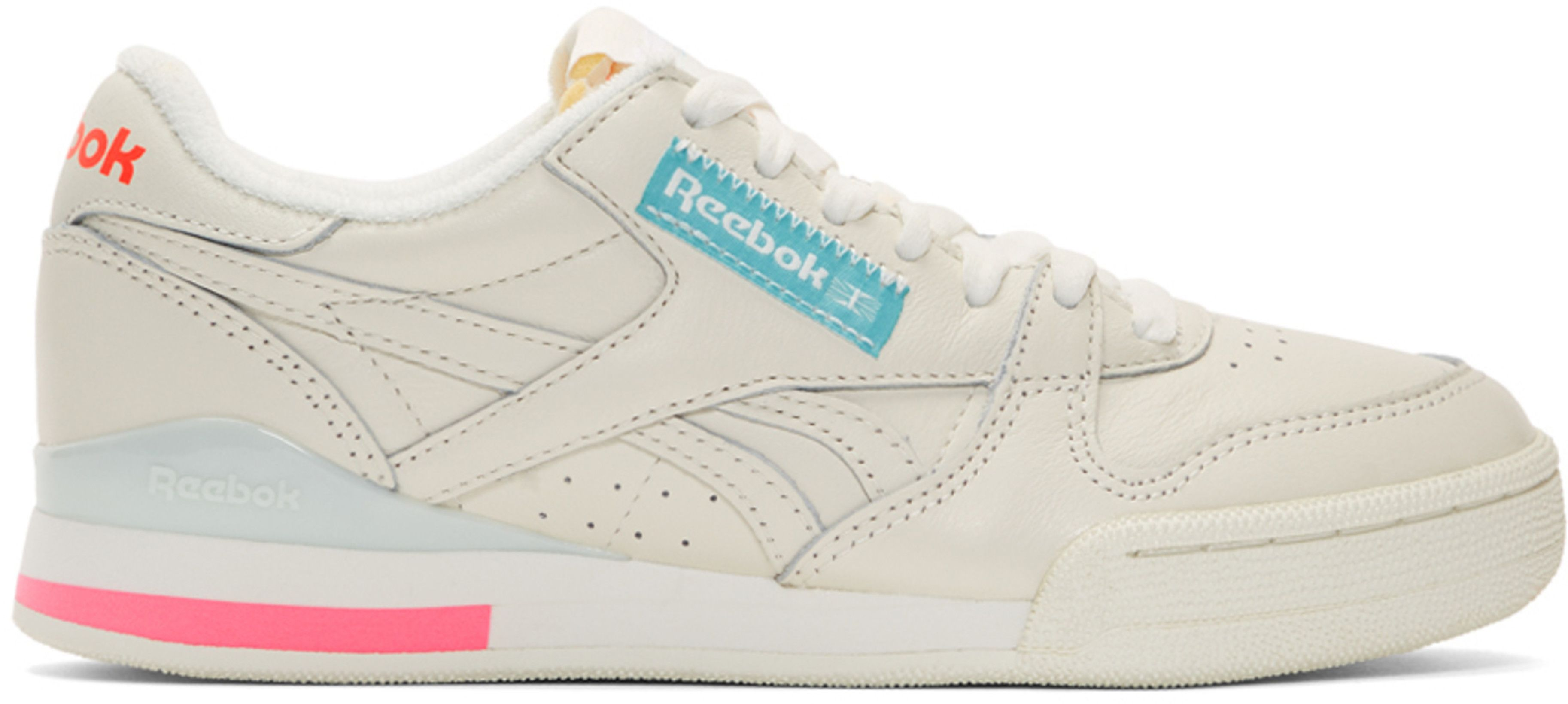 Off White Reebok Classics and Pink Phase 1 Pro Sneakers