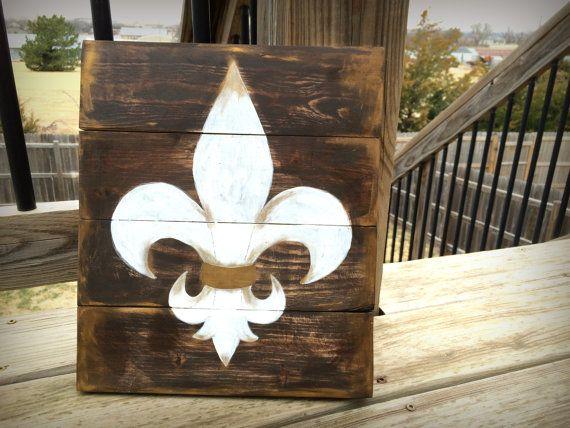 Rustic Fleur De Lis Pallet Sign Wood Fleur De by BrushLightGold