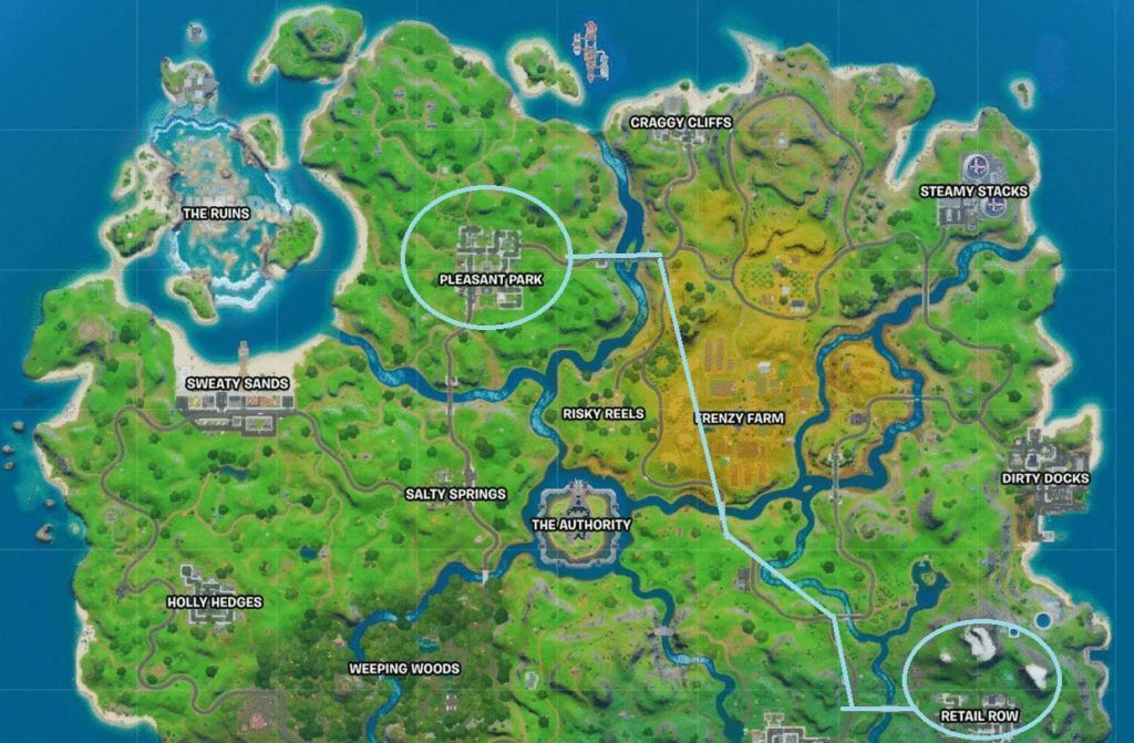 Fortnite quickly drive from Retail Row to Pleasant Park