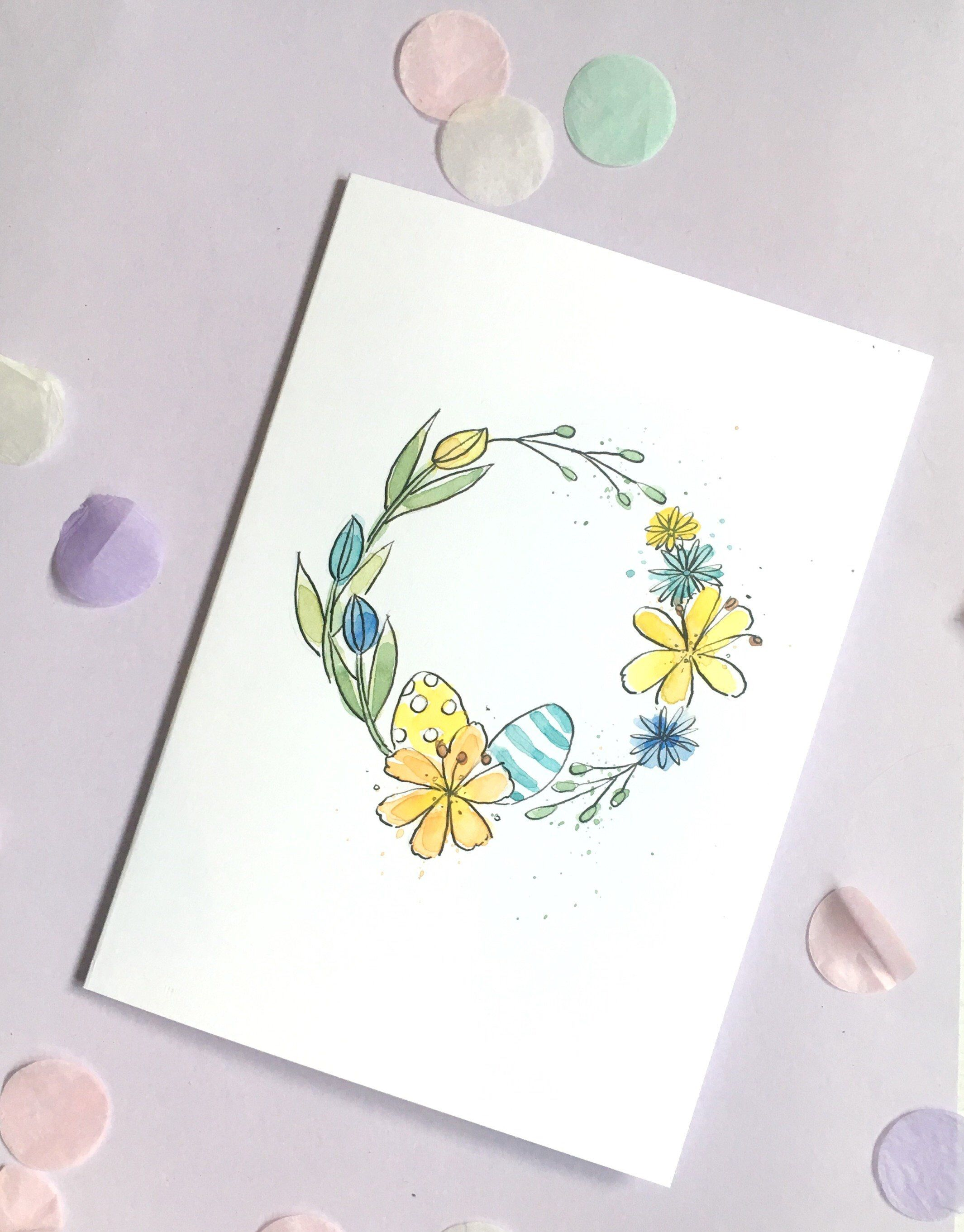 Spring Floral Wreath Card Hand Painted Easter Card A5 Floral Watercolour Flower Card Easter Cards Handmade Vintage Easter Cards Funny Easter Cards
