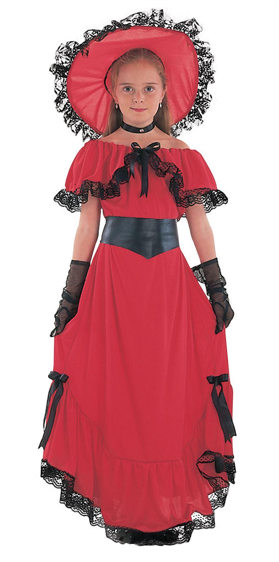 GIRLS SCARLET O HARA WESTERN VICTORIAN FANCY DRESS COSTUME