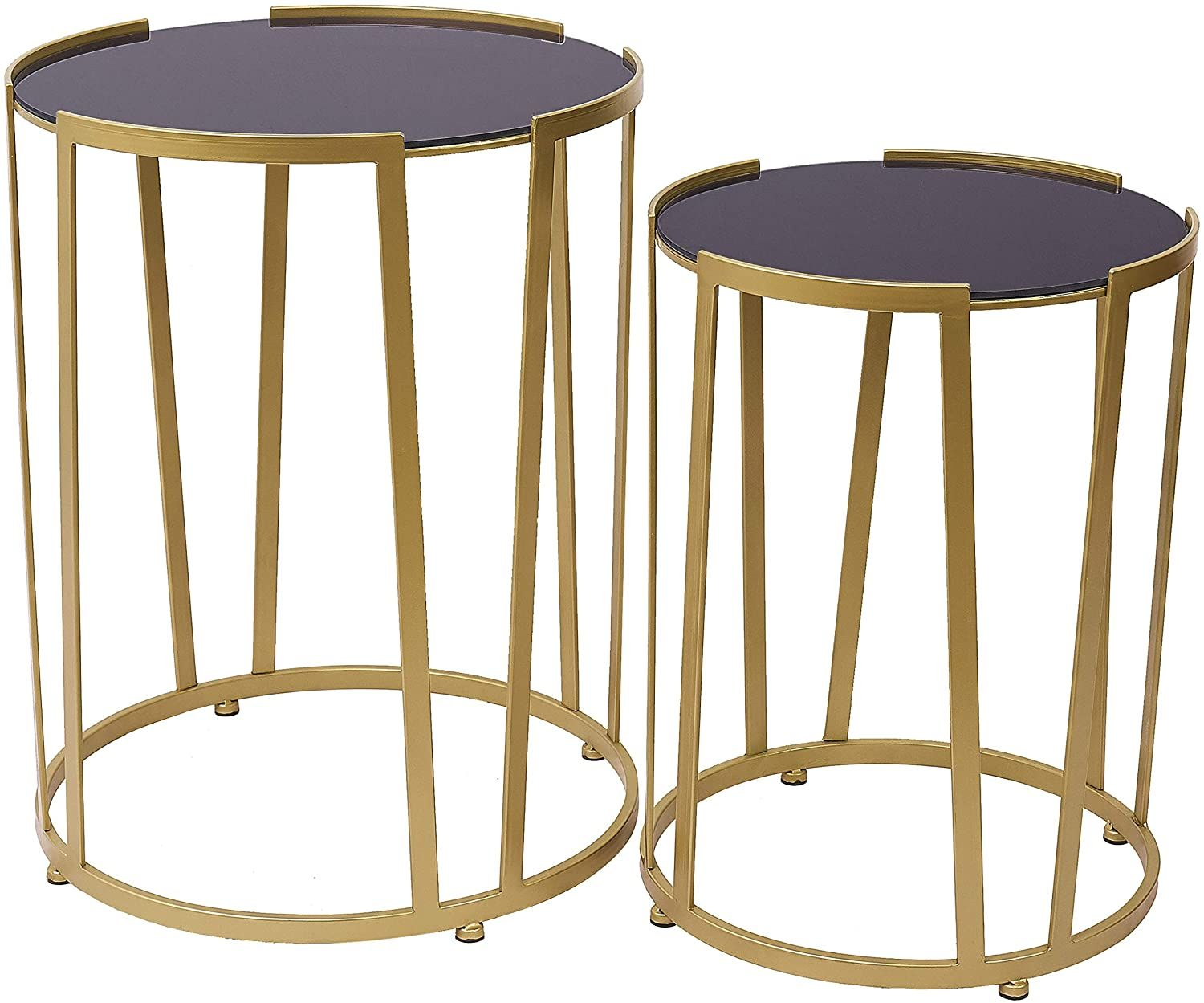 End Table Sofa Side Table Set Of 2 Nesting Coffee Table With Gold Metal Body Black Glass Top In 2020 Gold Coffee Table Nesting Coffee Tables Side Table [ 1249 x 1500 Pixel ]