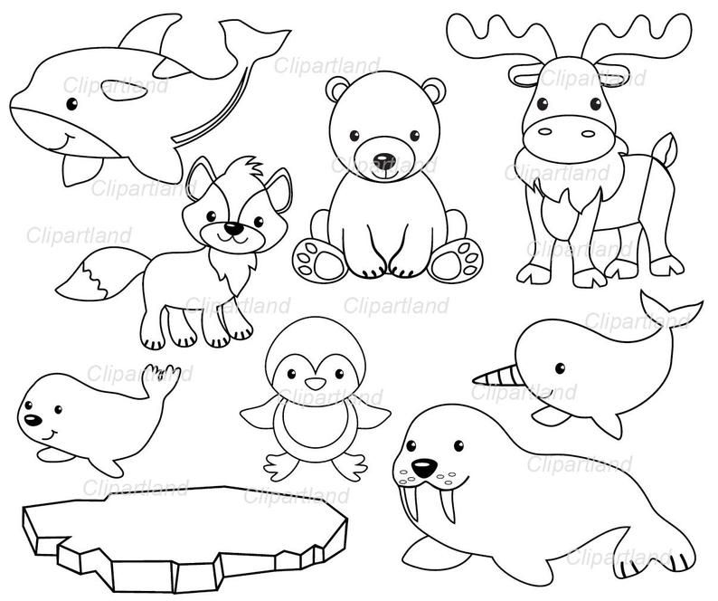 Instant Download Arctic Animals Clip Art Caa 3 Bw Personal And Commercial Use Arctic Animals Arctic Animals Crafts Digital Stamps