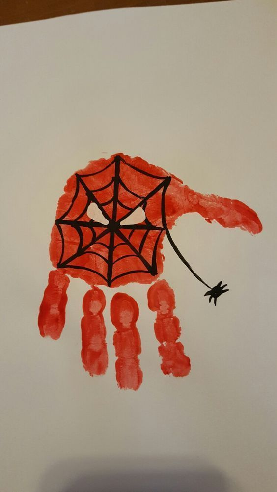 Superhero, Spiderman handprint #superherocrafts