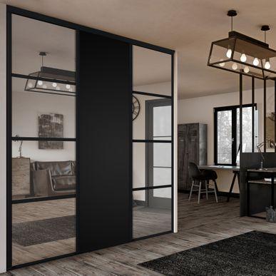 Facade De Placard Coulissante 3 Portes Miroir Arg Arg Coulissante De Facade Miroir Placard Portes Sitting Room Decor Dressing Room Design Black Decor