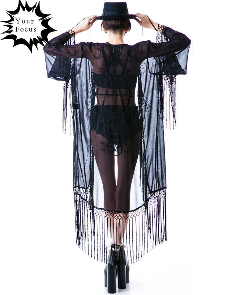 punk wizard chiffon long amp; sections 2015 jacket goth unif vintage cloak in Shirts kimono and black embroidered Blouses from fringed cardigan style summer qOOx4tZ