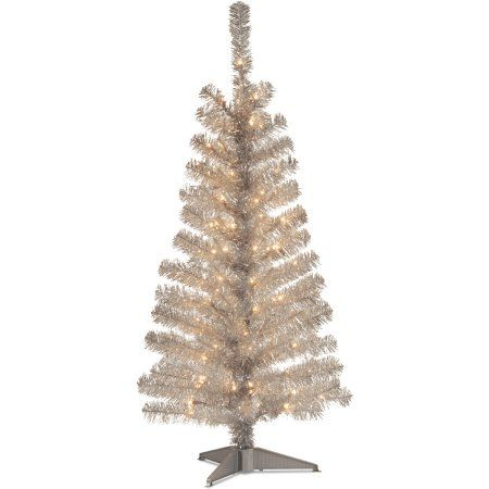 4 silver tinsel tree with clear lights - White Christmas Tree Walmart