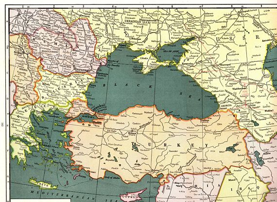 1941 rare size antique black sea map poster vintage map of turkey 1941 rare size antique black sea map poster vintage map of turkey iran iraq syria pipe gumiabroncs Gallery