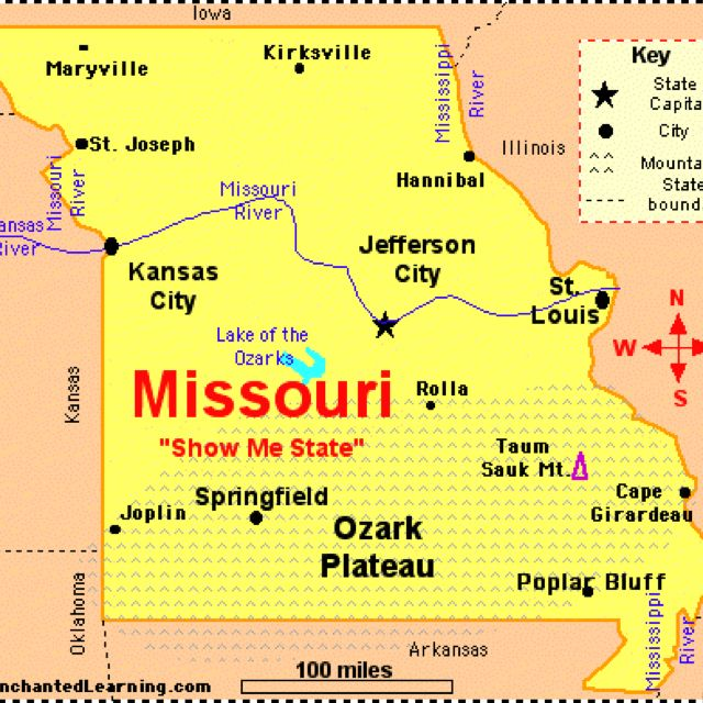 Map of MO. | Missouri, Missouri river, Jefferson city