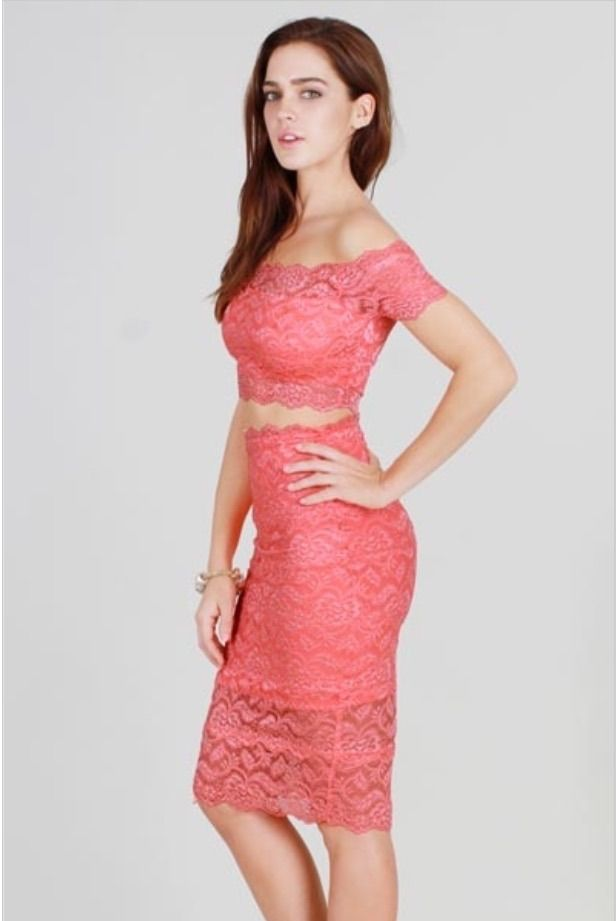 Melissa Coral Lace Crop Top Skirt Set | Spring Swag 18 | Pinterest ...