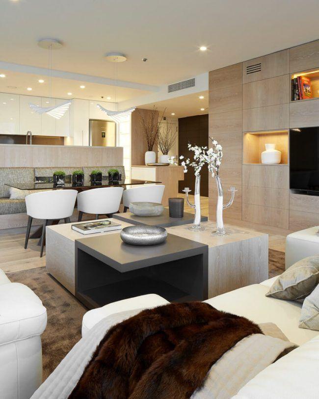 Wandfarbe Cremeweiß -modern-weiss-wohnzimmer-helle-holzoptik - wandfarben wohnzimmer modern