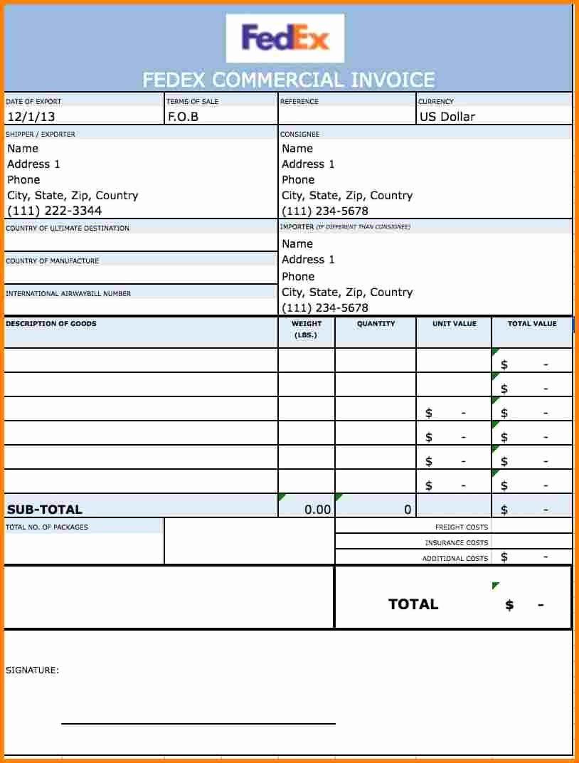 Proforma Invoice Template Fedex Best Template Collection In 2020 Invoice Template Word Invoice Template Invoice Sample