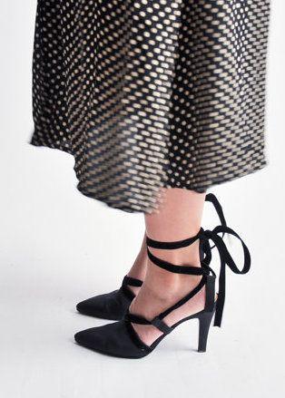 black yves saint laurent lace up heels  shoes fashion