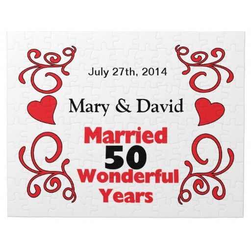 Red Scroll & Hearts Names & Date 50 Yr Anniversary Puzzle