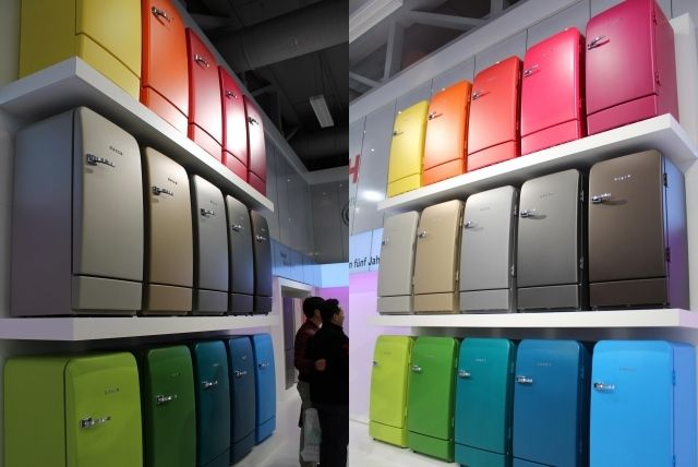 Retro refrigerator Bosch brings color to the kitchen | Kitchens ...