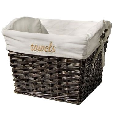 Brown Wicker Towel Basket With Liner With Images Brown