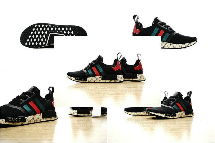 promo code 9f99b d77d2 Free Shipping Only 69  2017 New Guci x Adidas NMD Custom Black Red Green  259585