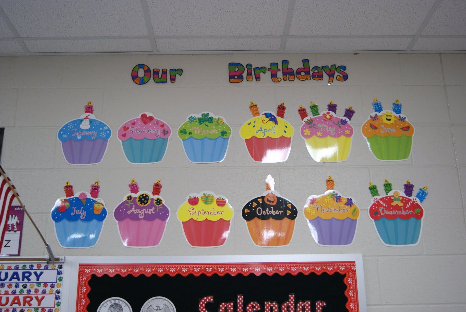 Birthday cupcakes to go on the calendar, so everyone knows when to wish each other a happy birthday!