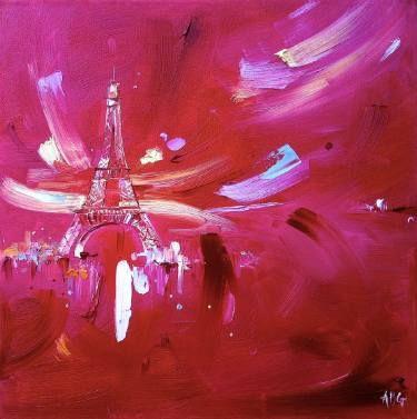 """Saatchi Art Artist Anna Gammans; Painting, """"The Eiffel Tower in Pink"""" #art"""